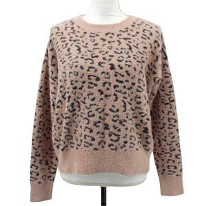 Lulus Cheetah Print Fuzzy Soft Pullover Crew Neck Sweater SYD1802ZMIC Size XS